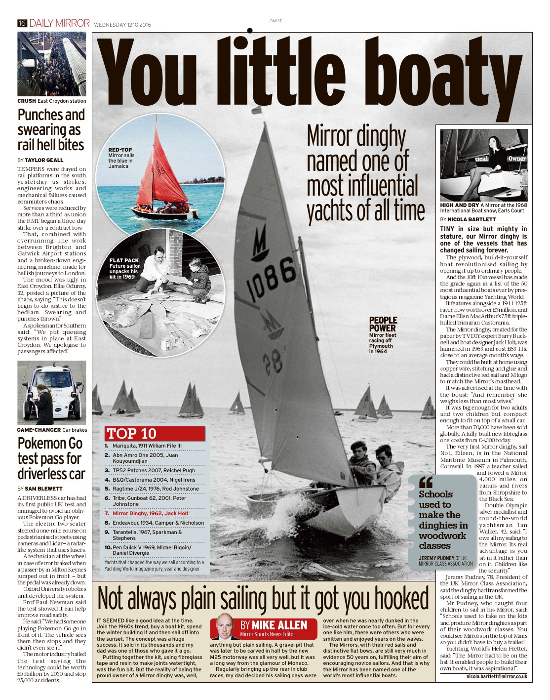 Page 16 of the Daily Mirror with article and photos of the Mirror Dinghy