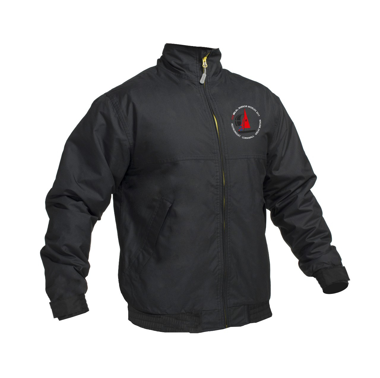 A black jacket with embroidered logo
